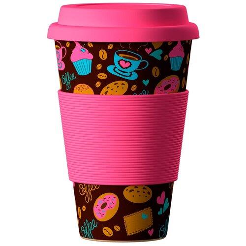 Тамблер BAMBOOCUP Eco Пончики-Донатс, 0.4 л розовый