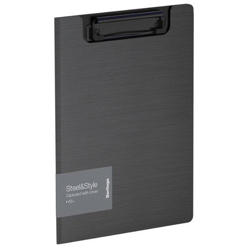 Купить Berlingo Папка-планшет с зажимом Steel&Style A5+, пластик черный, Файлы и папки