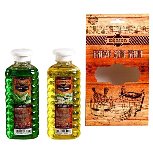 Добропаровъ Набор для бани Шампуни для волос Алоэ и Ромашка 250 мл 2 шт.