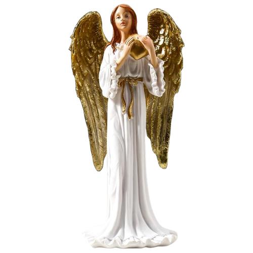 Статуэтка Yiwu Zhousima Crafts Девушка ангел-хранитель с сердцем, 20 см белый/золотой статуэтка faberge oc33719 серый золотой черный