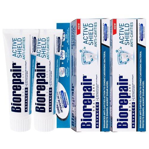 Зубная паста Biorepair Scudo Attivo активная защита эмали зубов, 75 мл, 2 шт зубная паста biorepair intensive night repair ночное восстановление 75 мл 2 шт
