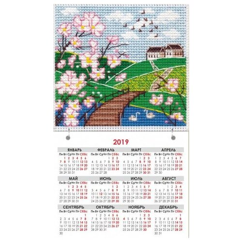 Овен набор для вышивания магнит-календарик Времена года. Весна 9.5 х 9.5 см (1116)