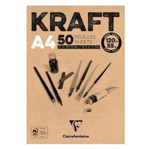 Купить Блокнот для эскизов и зарисовок Clairefontaine Kraft 29.7 х 21 см (A4), 120 г/м², 50 л., Альбомы для рисования