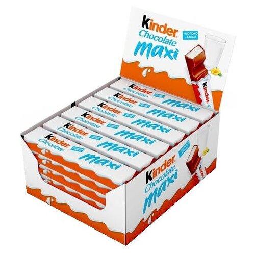 киндер конфета kinder chocolate maxi kinder Шоколад Kinder Chocolate maxi молочный, 21 г, 36 шт.