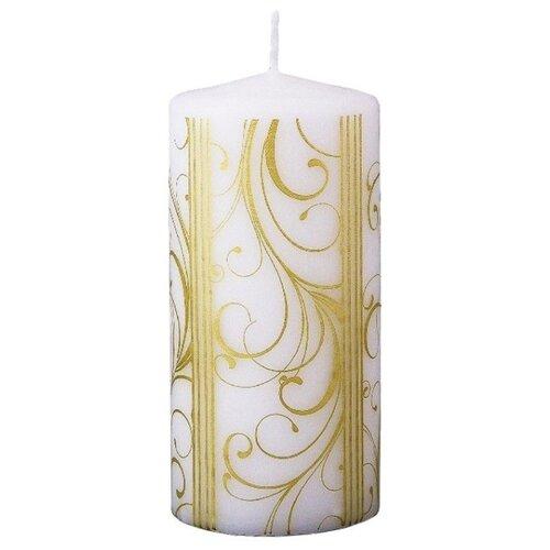 Свеча столбик ЗОЛОТОЙ УЗОР, белая, 6х12.5 см, Омский Свечной 9018-свеча