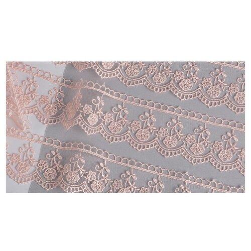 Кружево на сетке KRUZHEVO TR.8B0100 шир.45мм цв.06 розовая пудра уп.9м, Декоративные элементы  - купить со скидкой