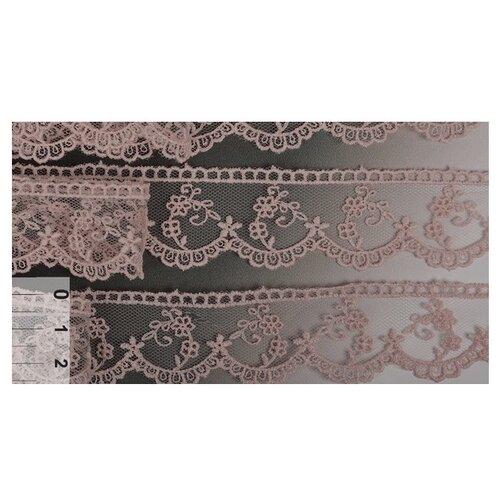 Купить Кружево на сетке KRUZHEVO TR.3810 шир.30мм цв.226 розовая пудра уп.14м, Декоративные элементы