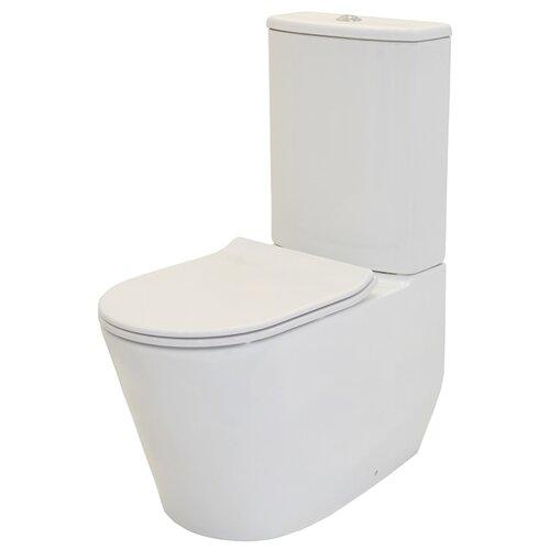 Унитаз с бачком безободковый напольный Creo Ceramique Rennes RE1002R+RE1003+RE1001T с горизонтальным выпуском декор ceramique imperiale ирисы сиреневый 20х60