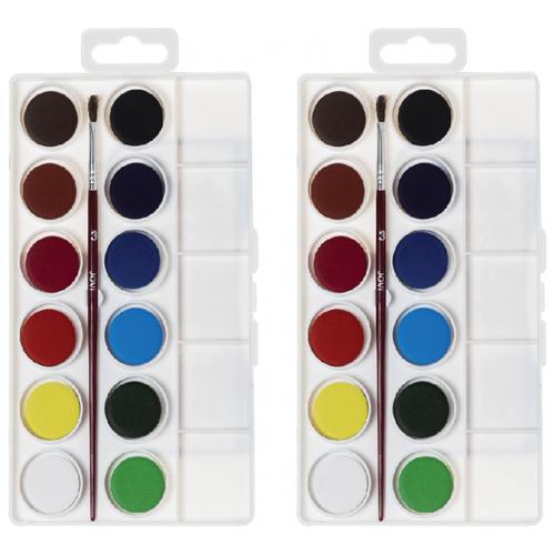 Купить JOVI Акварельные краски 12 цветов с кисточкой (800/12), 2 шт, Краски