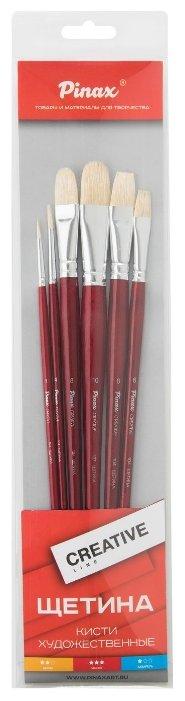 Набор кистей Pinax Creative, щетина, с длинной ручкой, 6 шт.