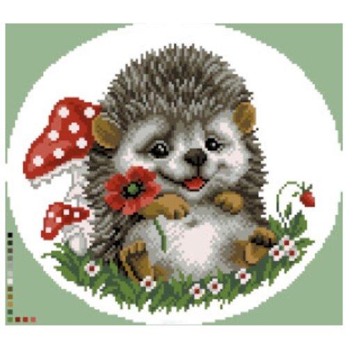Купить Цветной Вышивка крестом Ежик с цветком 21 х 21 см (VC017), Наборы для вышивания