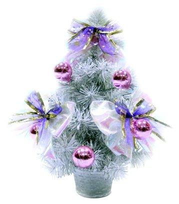 Новогодняя елка с шарами и бантами, белая, 30 см Snowmen