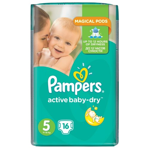 Pampers подгузники Active Baby-Dry 5 (11-18 кг) 16 шт. подгузники pampers active baby dry 5 11 16 кг 60 шт