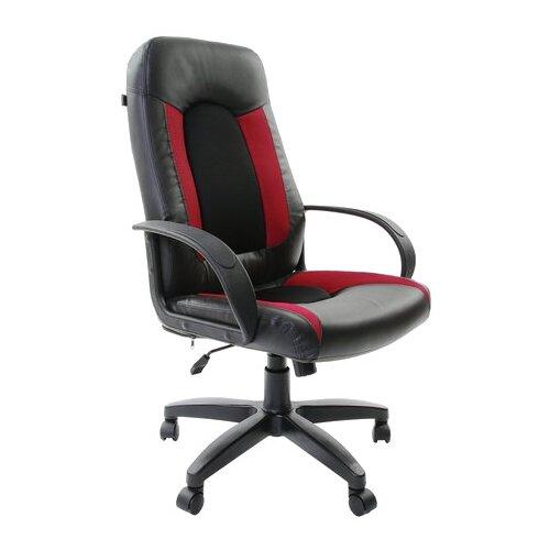 Компьютерное кресло Brabix Strike EX-525 для руководителя, обивка: текстиль/искусственная кожа, цвет: черный/бордовый brabix strike ex 525 серый черно синий