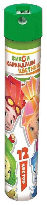 CENTRUM Цветные карандаши Фиксики 12 цветов, точилка, металлический тубус (87050)