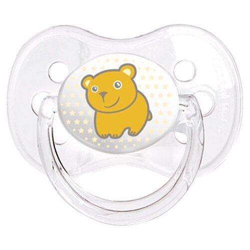Купить Пустышка силиконовая классическая Canpol Babies Transparent 6-18 м (1 шт) оранжевый, Пустышки и аксессуары