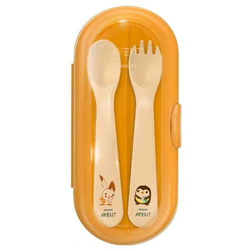 Купить Набор столовых приборов Philips Avent в дорожном футляре, SCF718/00 оранжевый/белый, Столовые приборы