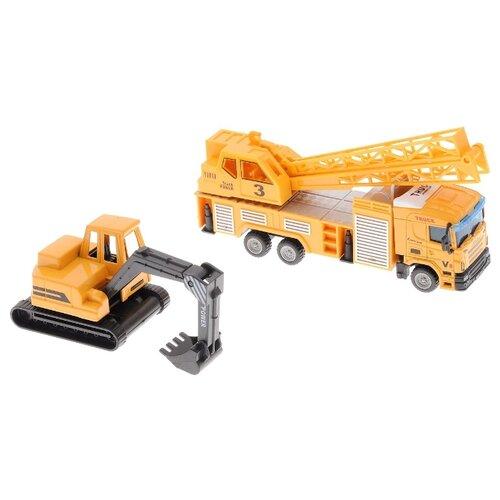 Купить Набор техники Donbful Truck Series Кран и экскаватор (1813-2C) 1:64 желтый/черный, Машинки и техника