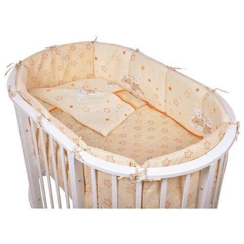 Купить Pituso комплект для овальной кроватки Зайки (6 предметов) кремовый, Постельное белье и комплекты