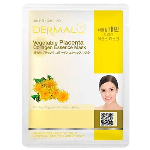 DERMAL Vegetable Placenta Collagen Essence Тканевая маска с коллагеном и растительной плацентой, 23 г dermal тканевая маска с коллагеном и экстрактом пчелиного маточного молочка 23 г