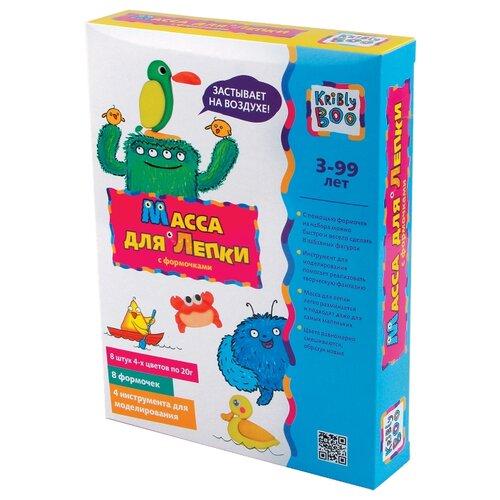 Купить Масса для лепки Kribly Boo с формочками 4 цвета по 20 г (53462), Пластилин и масса для лепки