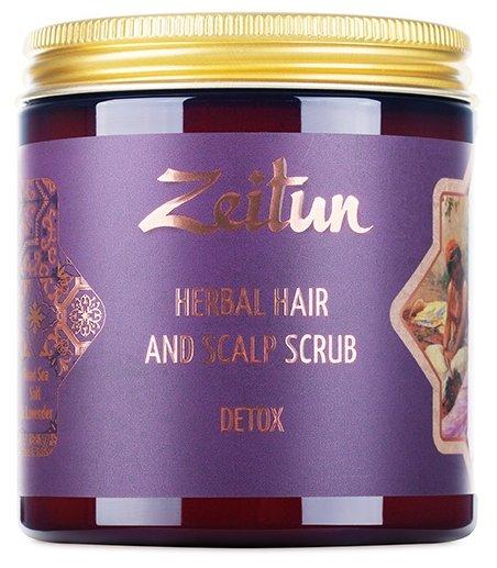 Zeitun Скраб для кожи головы и волос Детокс с солью Мертвого моря и эфирным маслом лаванды степной