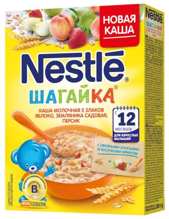 Каша Nestle молочная Шагайка 5 злаков с кусочками яблока, земляники садовой и персиком (с 12 месяцев) 200 г