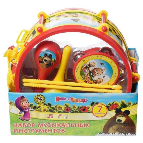Купить Играем вместе набор инструментов Маша и Медведь B226345-R2 красный/желтый/голубой, Детские музыкальные инструменты
