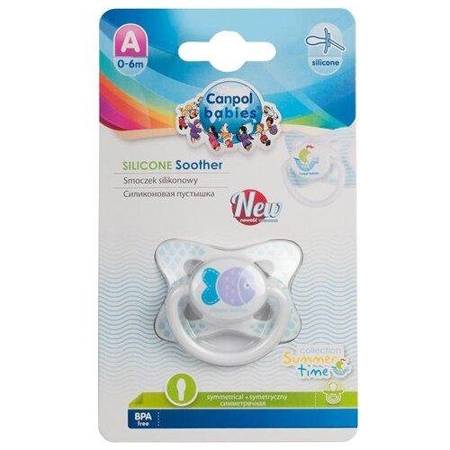 Купить Пустышка силиконовая анатомическая Canpol Babies Summertime 0-6 м (1 шт) белый/рыбка, Пустышки и аксессуары