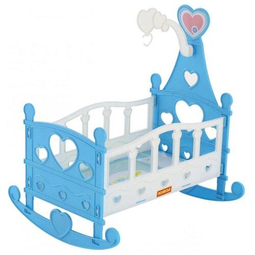 Купить Полесье Кроватка-качалка сборная для кукол №3 (8 элементов) в пакете (62079) белый/голубой, Мебель для кукол