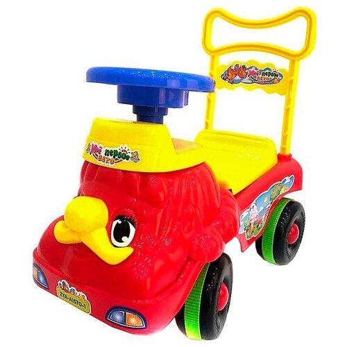Купить Каталка-толокар Zhorya Машина Мое первое авто (ZYA-A1570-1) со звуковыми эффектами красный/желтый, Каталки и качалки