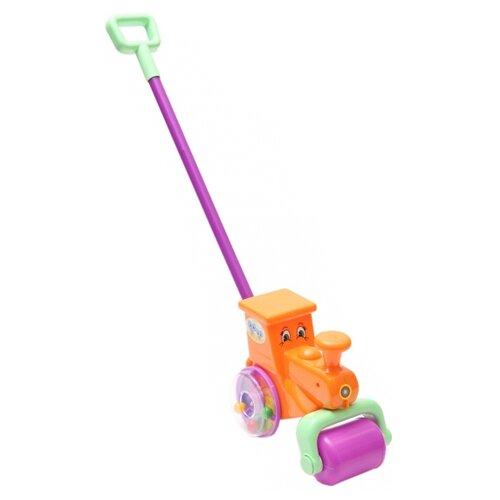 Каталка-игрушка Пластмастер Паровоз Веселая поездка 1/14 (12017) со звуковыми эффектами оранжевый/фиолетовыйКаталки и качалки<br>