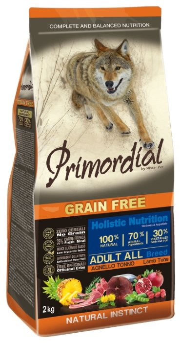 Корм для собак Primordial Adult All Breed Ягненок, тунец