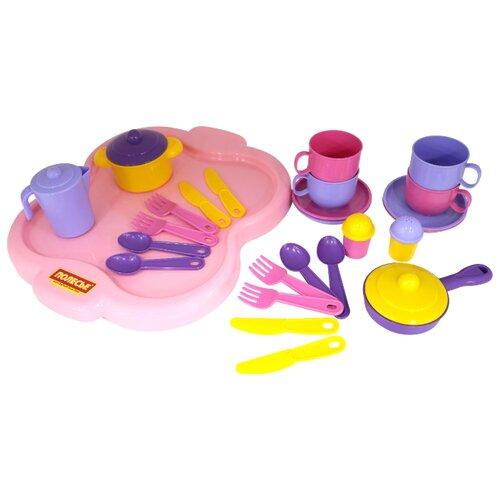 """Набор посуды Полесье """"Янина"""" с подносом на 4 персоны 4060 фиолетовый/розовый/желтый"""