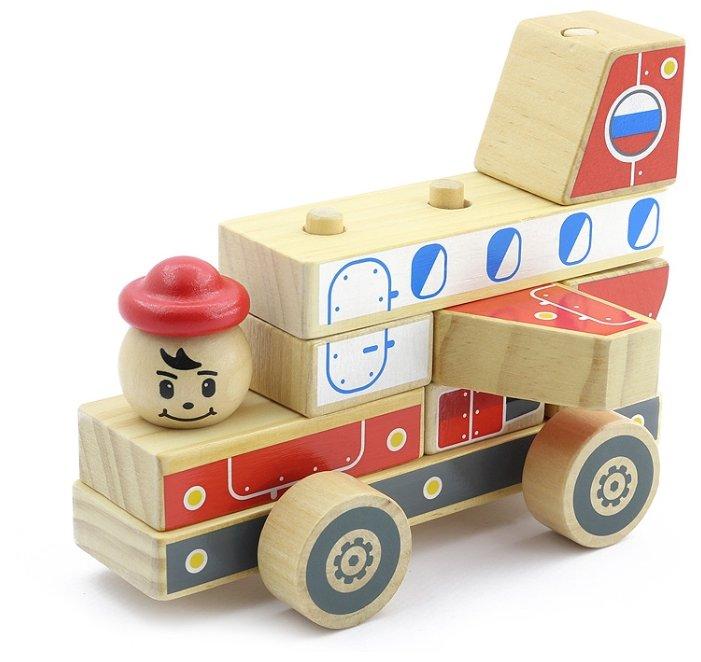 Пирамидка Игрушки из дерева Автомобиль-конструктор 4