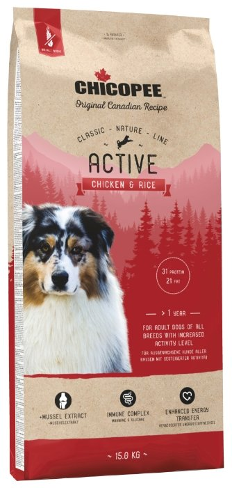 Корм для собак Chicopee Classic Nature Line Active Chicken and Rice