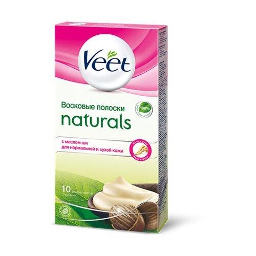 Veet Восковые полоски Naturals с маслом ши для нормальной и сухой кожи 10 шт. полоски восковые veet алоэ вера д сухой кожи 12шт