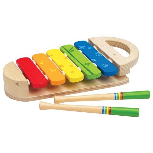 Фото - Hape ксилофон Радуга Е0302 бежевый/голубой/желтый деревянные игрушки hape погремушка радуга