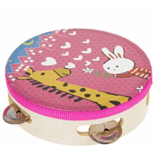 Купить Лесная мастерская бубен Зайка с жирафом 2546238 разноцветный, Детские музыкальные инструменты