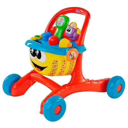 Купить Каталка-ходунки Chicco Говорящая тележка для покупок (76550) со звуковыми эффектами красный/желтый/голубой, Каталки и качалки