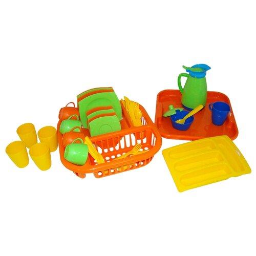 Набор посуды Полесье Алиса с сушилкой, подносом и лотком на 4 персоны 40718 разноцветный полесье набор игрушечной посуды алиса на 4 персоны 58980 цвет в ассортименте