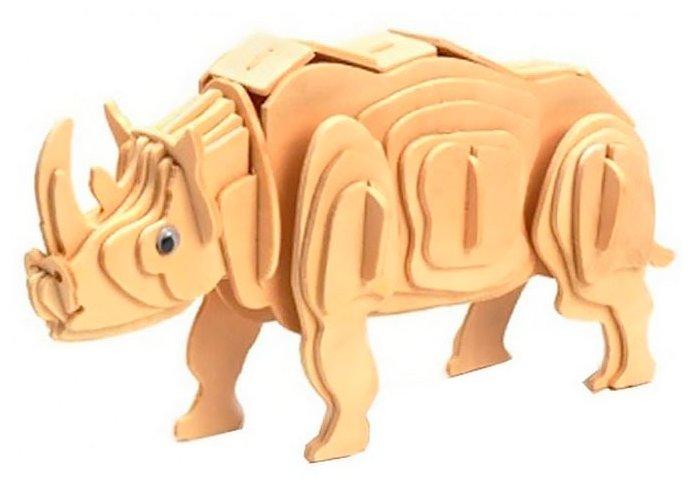 Сборная модель Мир деревянных игрушек Белый носорог (М018),,