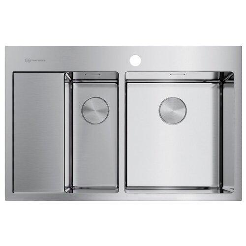 Фото - Врезная кухонная мойка 78 см OMOIKIRI Akisame 78-2-IN-R 4973063 нержавеющая сталь врезная кухонная мойка 65 см omoikiri akisame 65 in r нержавеющая сталь