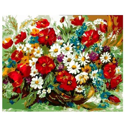 Купить Цветной Картина по номерам Летний букет в вазе 30х40 см (ME1013), Картины по номерам и контурам