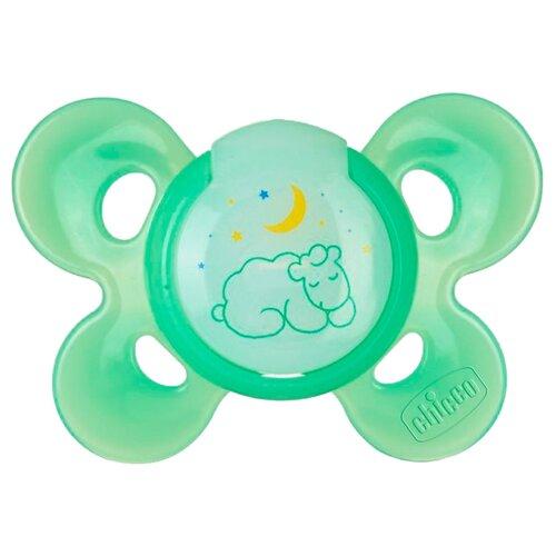 Пустышка силиконовая ортодонтическая Chicco Physio Comfort Night 6-12 м (1 шт) зеленыйПустышки и аксессуары<br>