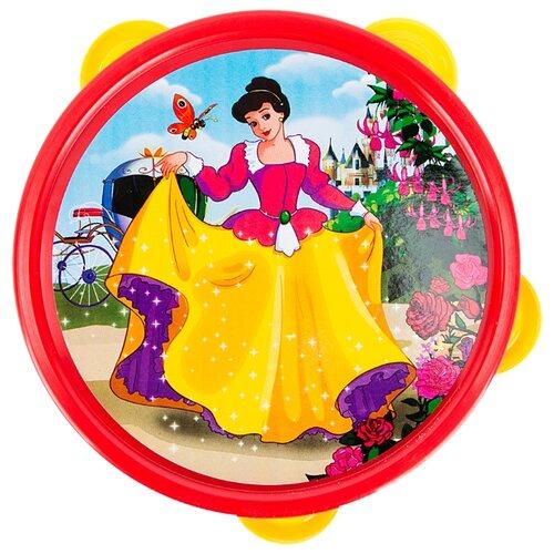 Купить Рыжий кот бубен Принцесса И-2898 красный/желтый/белый, Детские музыкальные инструменты