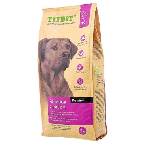 Сухой корм для собак Titbit (3 кг) Для собак крупных пород ягненок с рисом 3 кг (для крупных пород)