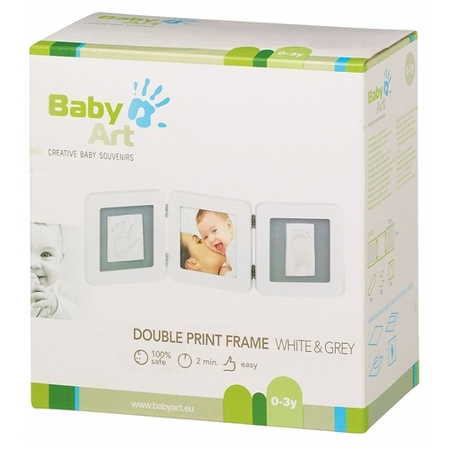 Baby Art Creative baby souvenirs - Double print frame white and grey (34120140)