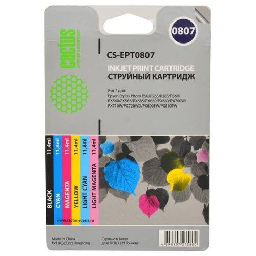 Фото - Набор картриджей cactus CS-EPT0807, совместимый набор картриджей cactus cs cb435ad совместимый