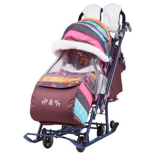 Санки-коляска Nika Ника детям 7-3 (НД 7-3) скандинавский (розовый)